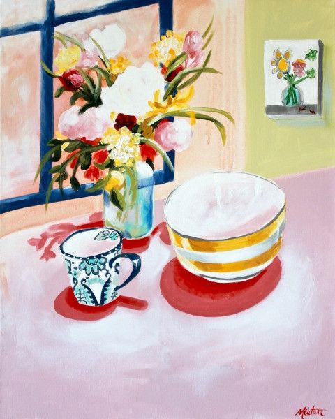 """Stripe Bowl & Cup"" 24 x 30 inches acrylic painting on canvas - Prophetic Christian Fine Art by Mindi Oaten Art"
