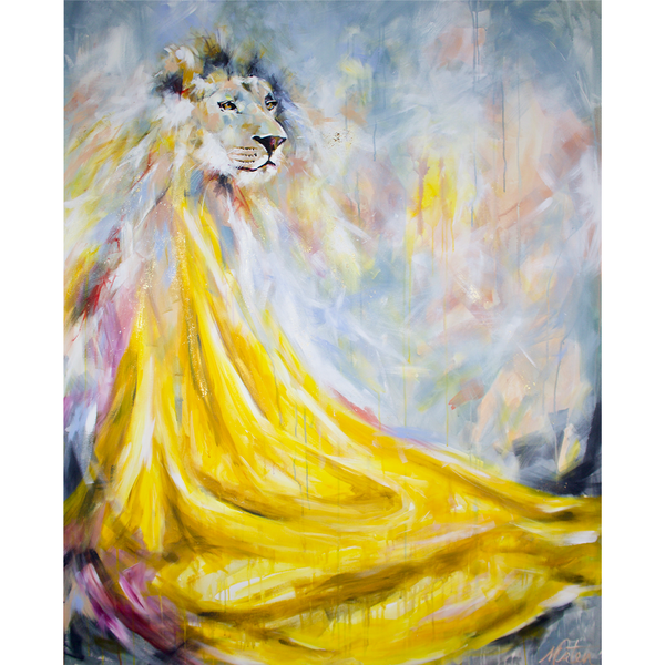 """The Lion"" 48 x 60 inches acrylic painting on canvas"