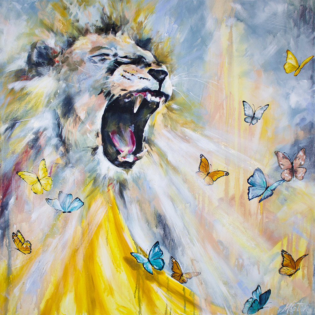 """The Roar"" 36 x 36 inches acrylic painting on canvas"