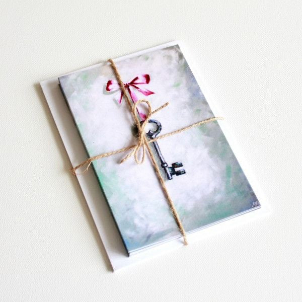 """This Key"" Note Cards - Set of 8 - Prophetic Christian Fine Art by Mindi Oaten Art"