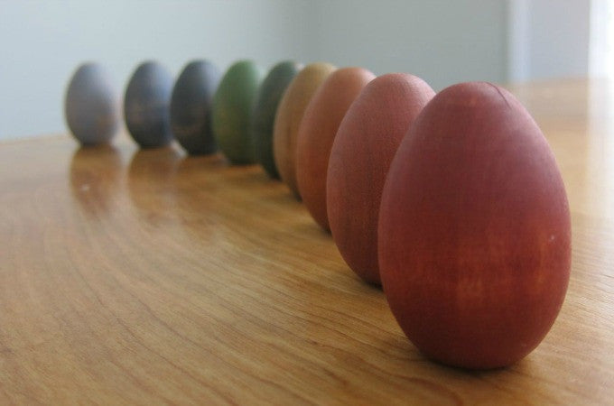 Painting Wooden Eggs with Milk Paint