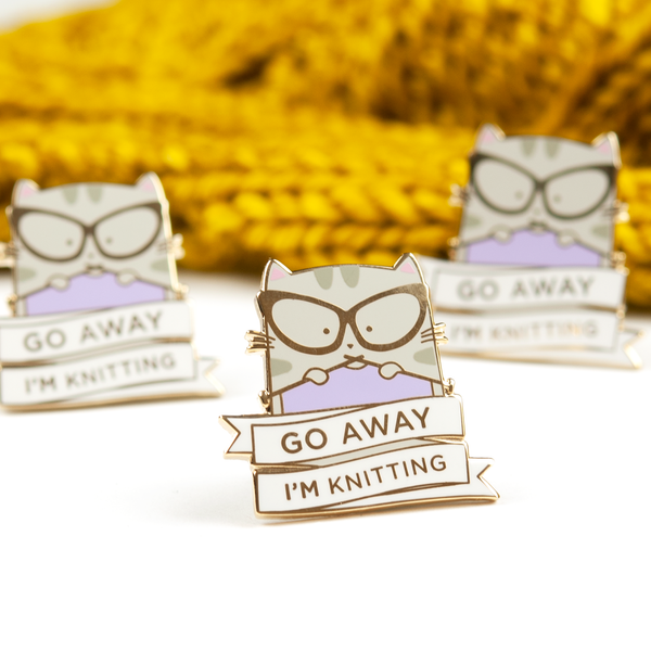 Knitting Enamel Pin