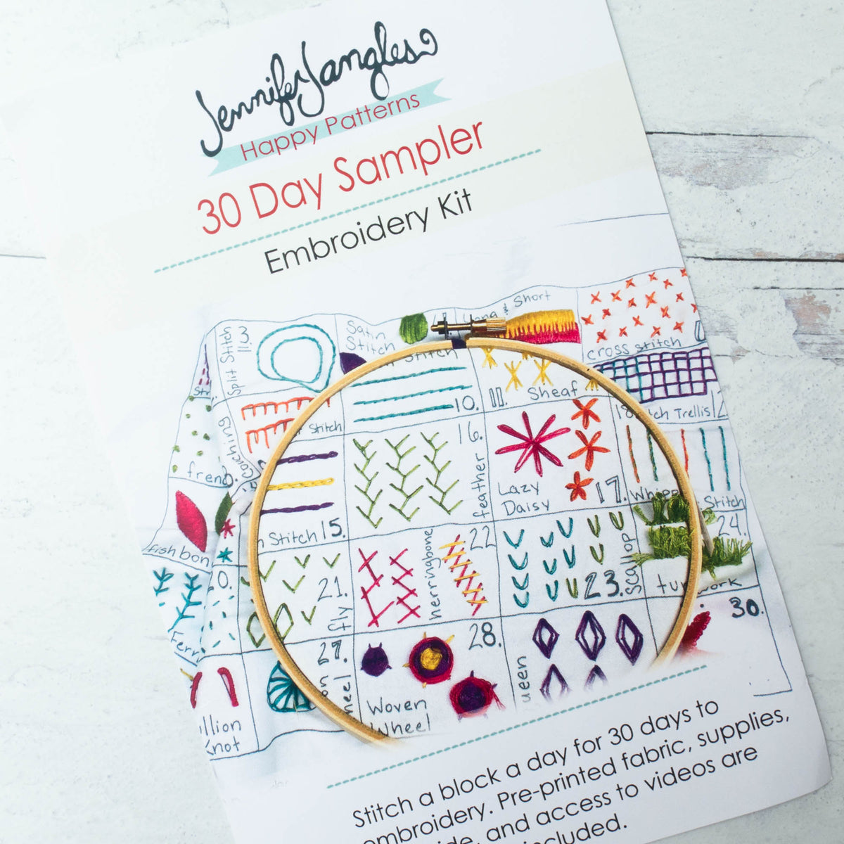 Jennifer Jangles 30 Day Sampler Embroidery Kit