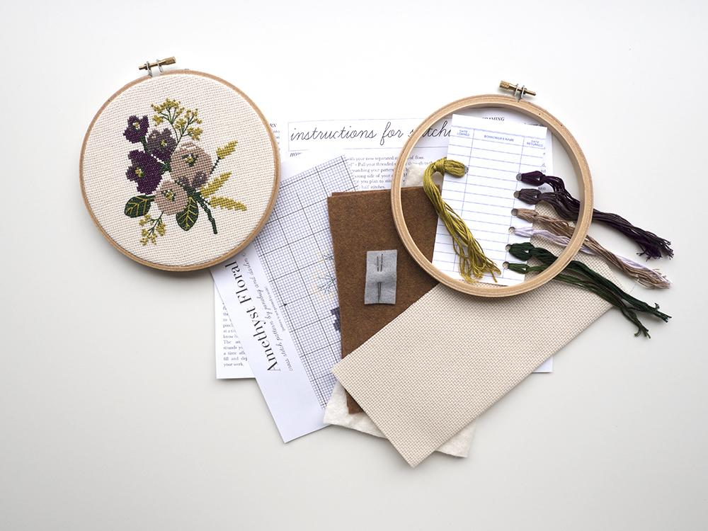 Amethyst Floral Cross Stitch Kit