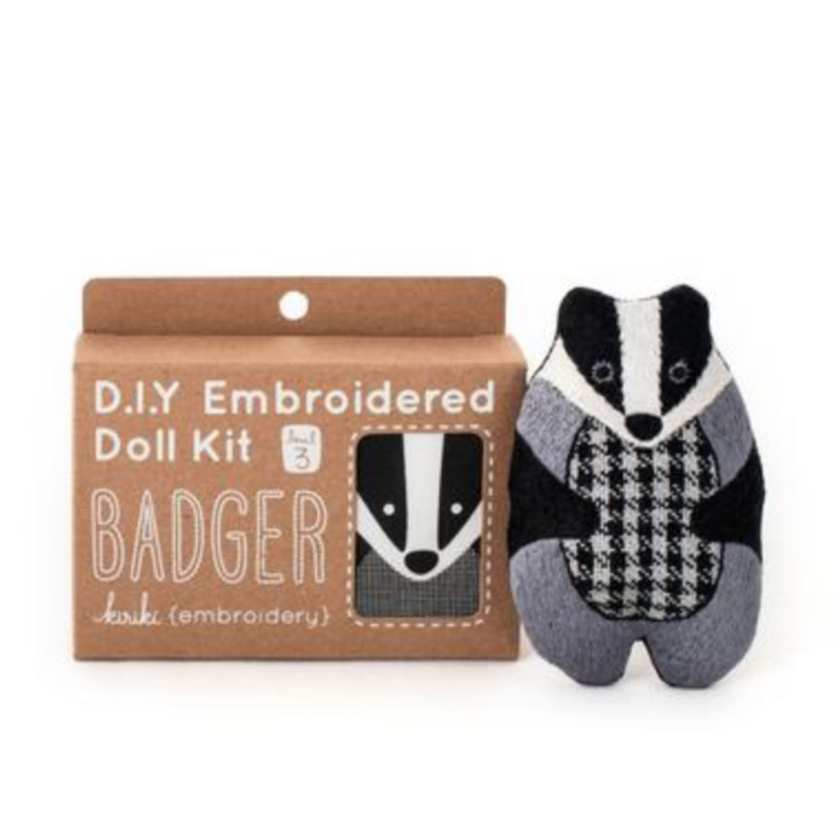 Badger Doll Embroidery Kit by Kiriki Press Embroidery Kit - Snuggly Monkey