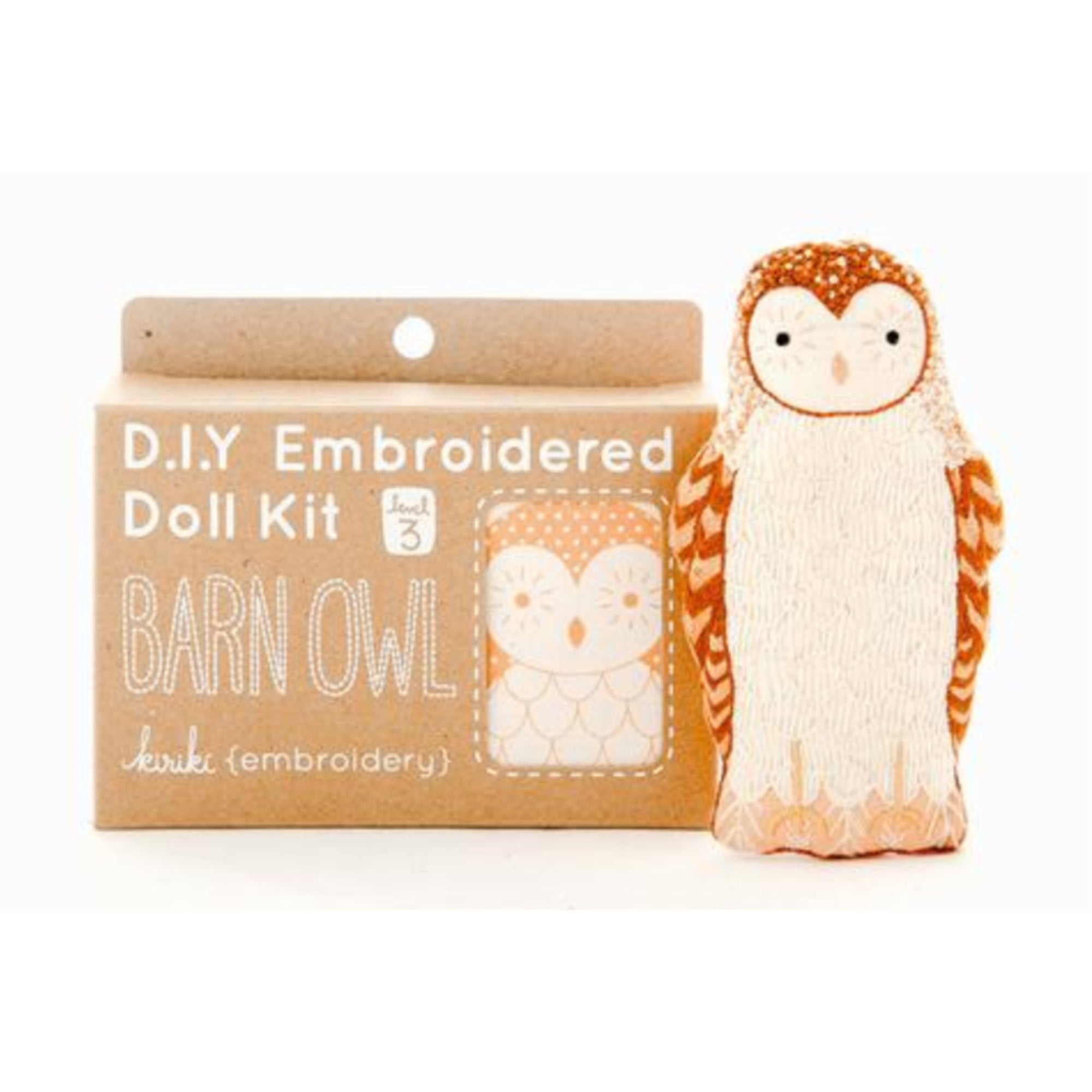 Barn Owl Plushie Embroidery Kit by Kiriki Press Embroidery Kit - Snuggly Monkey