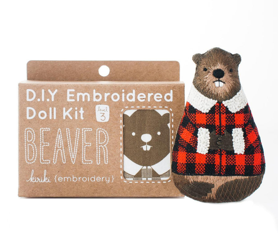 Beaver Embroidery Kit by Kiriki Press Embroidery Kit - Snuggly Monkey