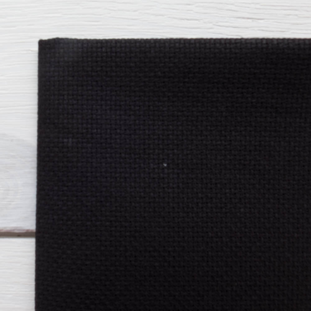 Black Aida Cross Stitch Fabric (16 ct) Fabric - Snuggly Monkey