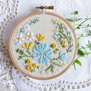 "Embroidery Kit : 4"" Blossoming Garden by Tamar Nahir Embroidery Kit - Snuggly Monkey"