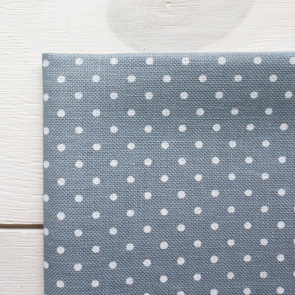 Blue Polka Dot Cross Stitch Linen Fabric (32 count) Fabric - Snuggly Monkey