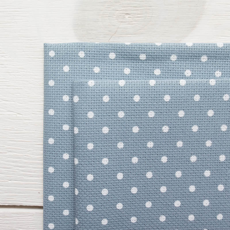 Blue Polka Dot Aida Cross Stitch Fabric (20 ct) Fabric - Snuggly Monkey
