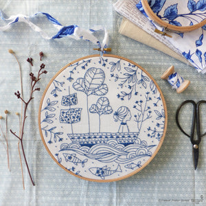 "Embroidery Kit : 8"" Blue Ocean by Tamar Nahir Embroidery Kit - Snuggly Monkey"