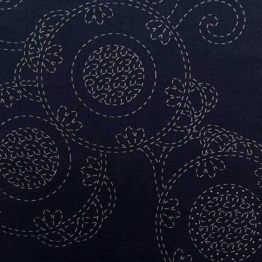Bracken Fern Sashiko Embroidery Sampler (Navy)