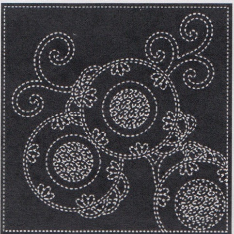 Bracken Fern Sashiko Embroidery Sampler (Navy) Sashiko - Snuggly Monkey