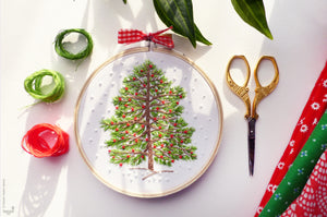 "Christmas Embroidery Kit : 4"" Christmas Tree by Tamar Nahir Embroidery Kit - Snuggly Monkey"
