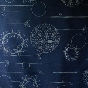 Large Sashiko Panel - Circle Wreaths