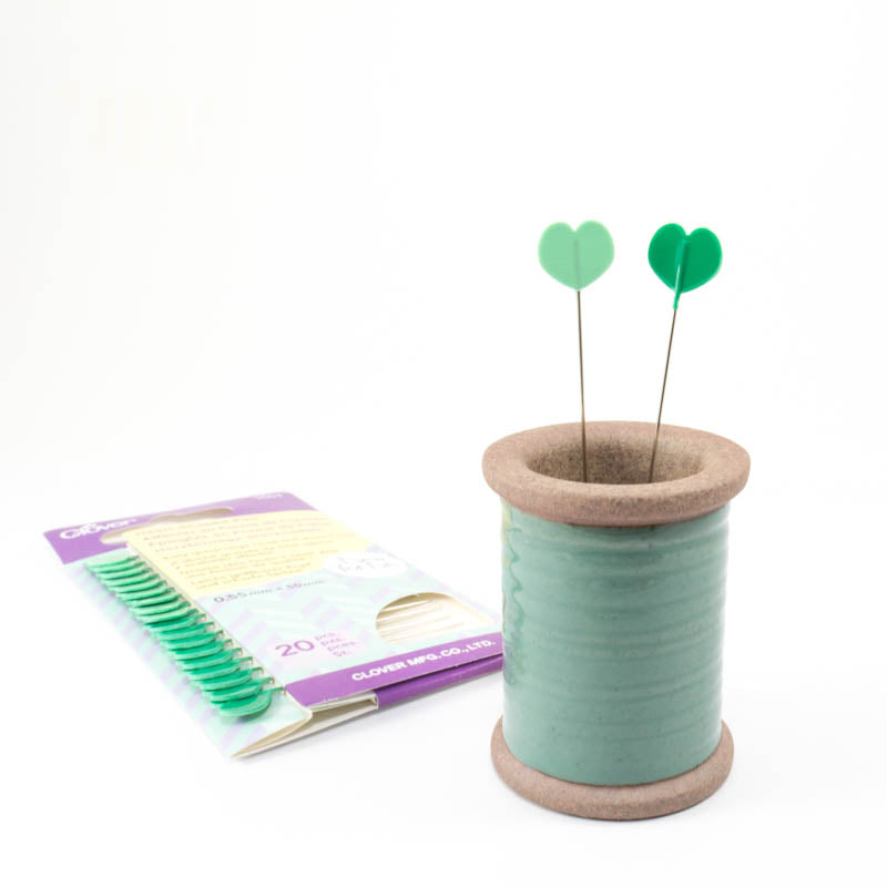 Green Heart Shaped Sewing Pins