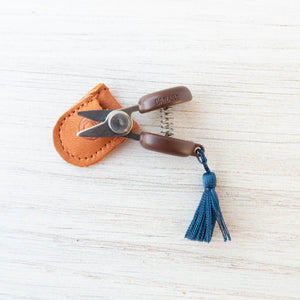 Mini Japanese Thread Snips with Leather Sheath