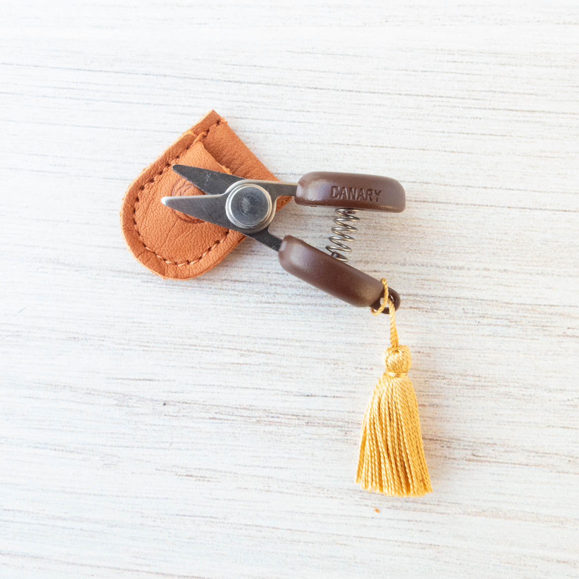 Mini Japanese Thread Snips with Leather Sheath Scissors - Snuggly Monkey