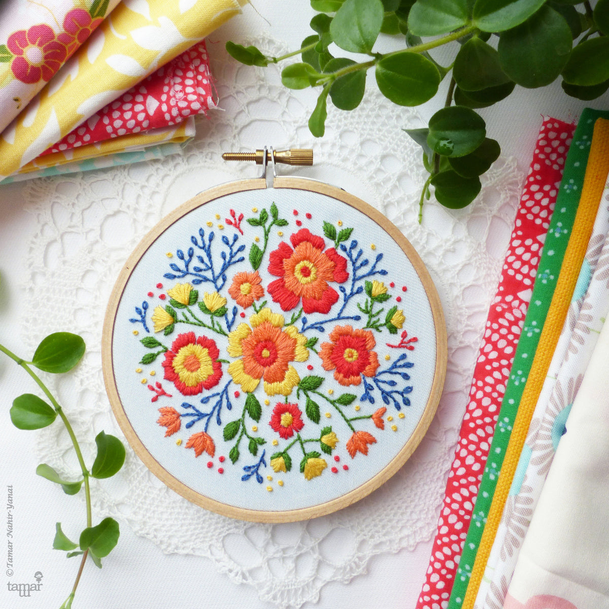 "Embroidery Kit : 4"" Colorful Flowers by Tamar Nahir Embroidery Kit - Snuggly Monkey"
