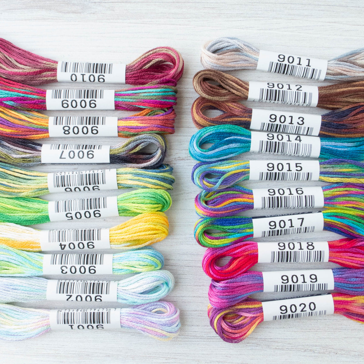 Complete Collection Cosmo Seasons Variegated Embroidery Floss Set - 9000 Series Floss - Snuggly Monkey