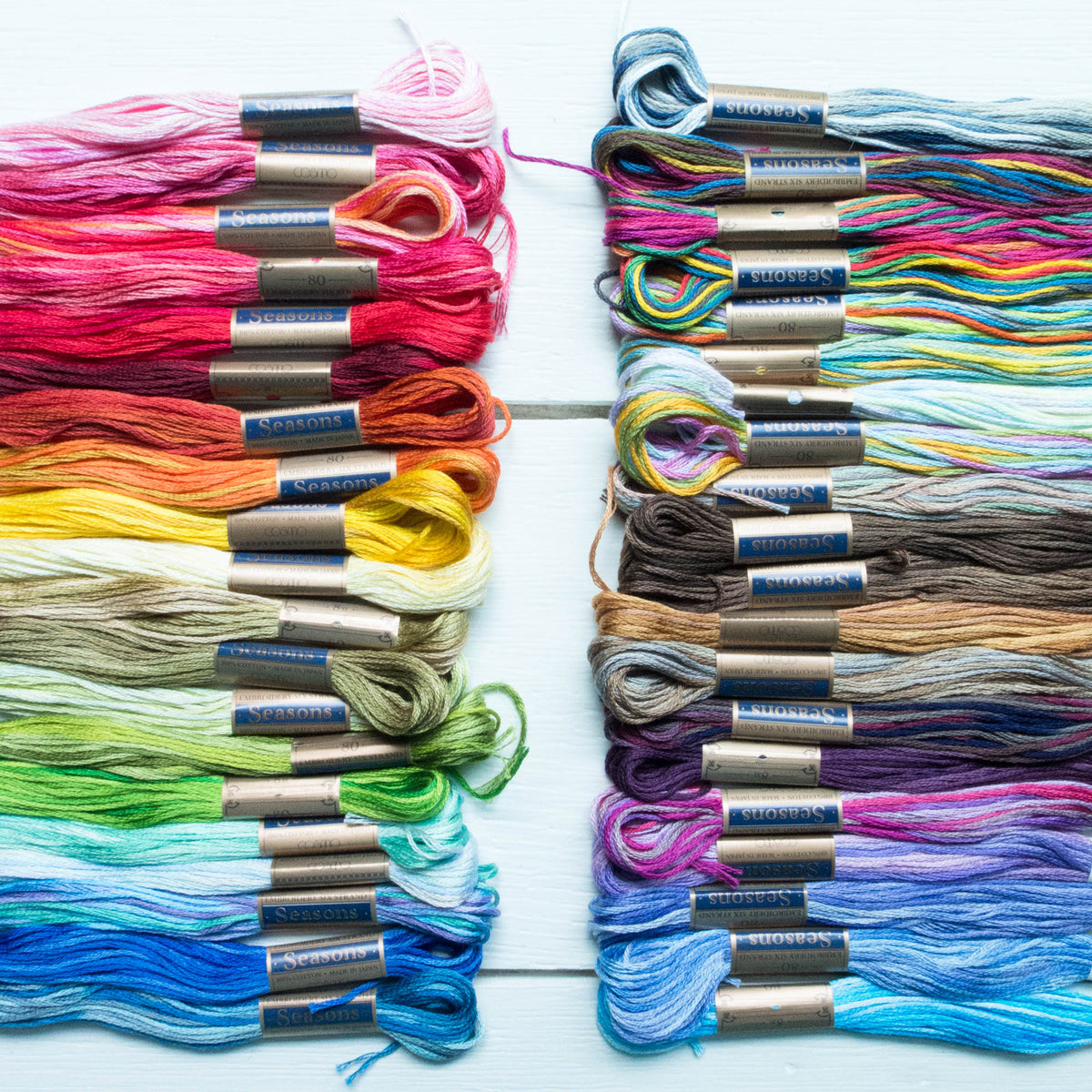 Complete Collection Cosmo Seasons Variegated Embroidery Floss Set - 5000 Series Floss - Snuggly Monkey