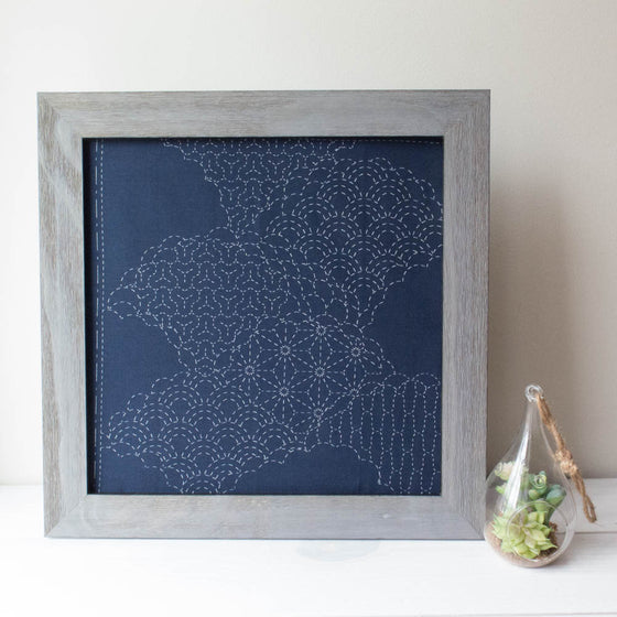 Cumulus Cloud Sashiko Embroidery Sampler (Navy)