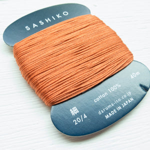 Daruma Carded Sashiko Thread - Carrot (no. 214) Sashiko - Snuggly Monkey
