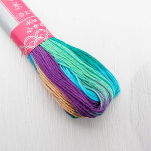 Daruma Sashiko Thread - Variegated Rainbow (#101) Sashiko - Snuggly Monkey