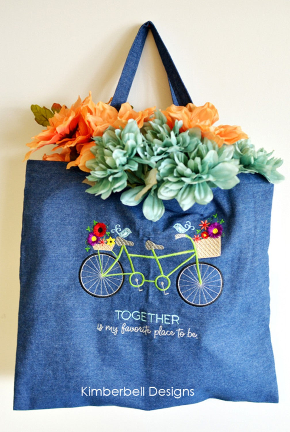 Embroidery-Ready Denim Tote Bag