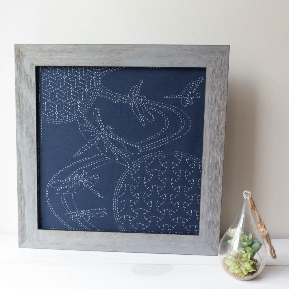 Dragonflies Sashiko Embroidery Sampler (Navy)