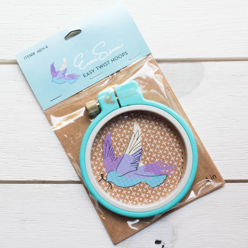 EverSewn 4 inch Easy Twist Embroidery Hoop Embroidery Hoops - Snuggly Monkey