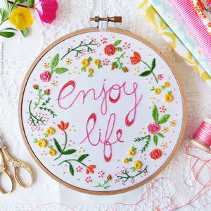"Embroidery Kit : 6"" Enjoy Life by Tamar Nahir Embroidery Kit - Snuggly Monkey"