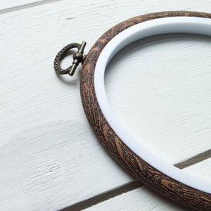 "Faux Wood Embroidery Hoop - 5.5"" Oval Embroidery Hoops - Snuggly Monkey"