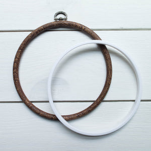 "Faux Wood Embroidery Hoop - 5.5"" Round Flexi Hoop Embroidery Hoops - Snuggly Monkey"