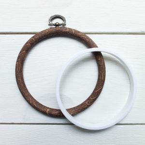 "Faux Wood Embroidery Hoop - 3.5"" Round Flexi Hoop Embroidery Hoops - Snuggly Monkey"