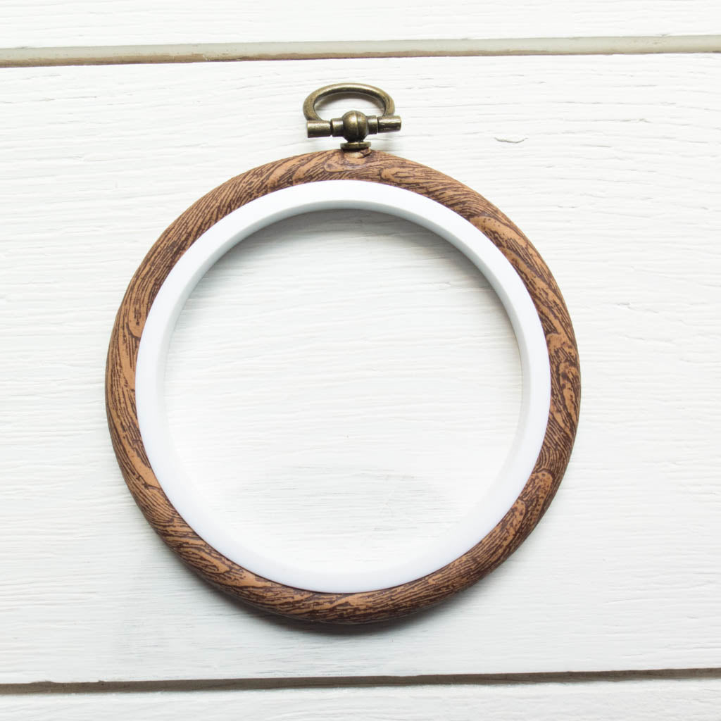 "Faux Wood Embroidery Hoop - 2.5"" Round Flexi Hoop Embroidery Hoops - Snuggly Monkey"