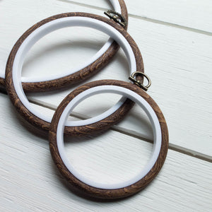 "Faux Wood Embroidery Hoop - 6.5"" Oval Embroidery Hoops - Snuggly Monkey"
