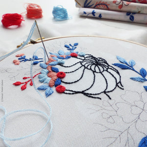 "Modern Embroidery Kit : 6"" Flower Crown Lady by Tamar Nahir Embroidery Kit - Snuggly Monkey"