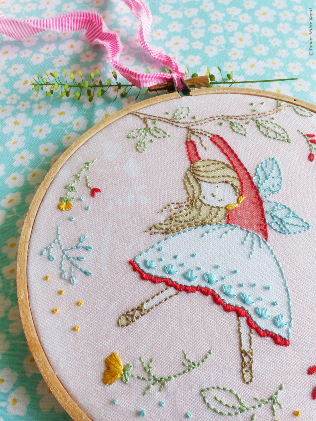 "Embroidery Kit : 6"" Flying Fairy by Tamar Nahir Embroidery Kit - Snuggly Monkey"