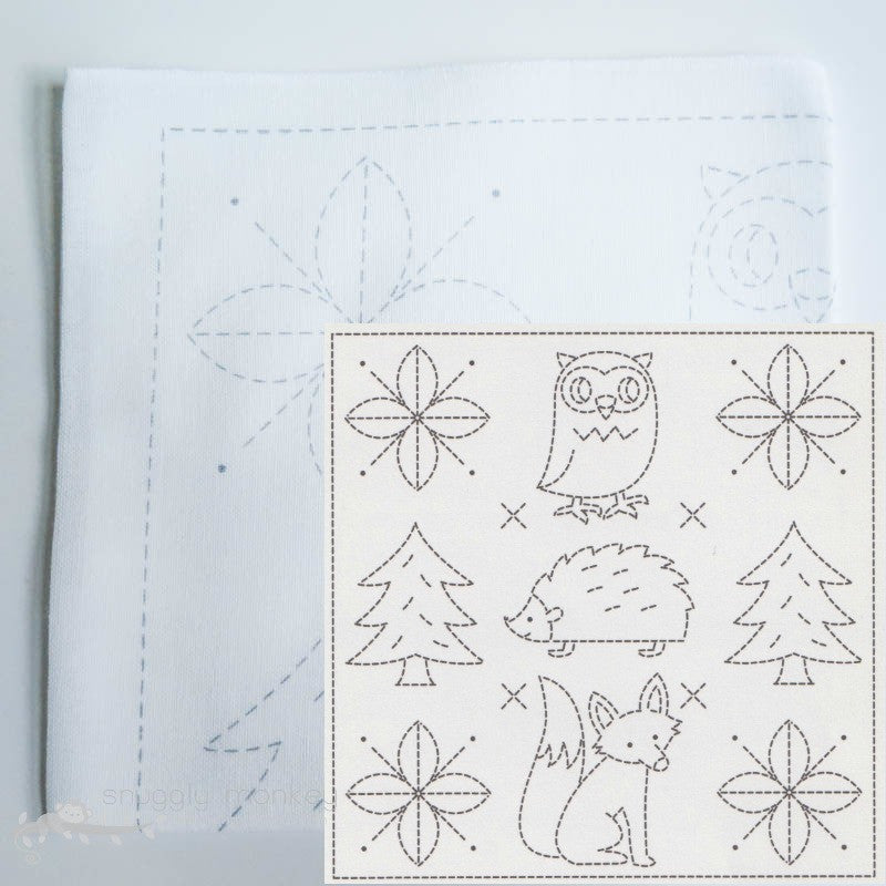 Sashiko Embroidery Kit - Forest Friends (No 1031) Sashiko - Snuggly Monkey