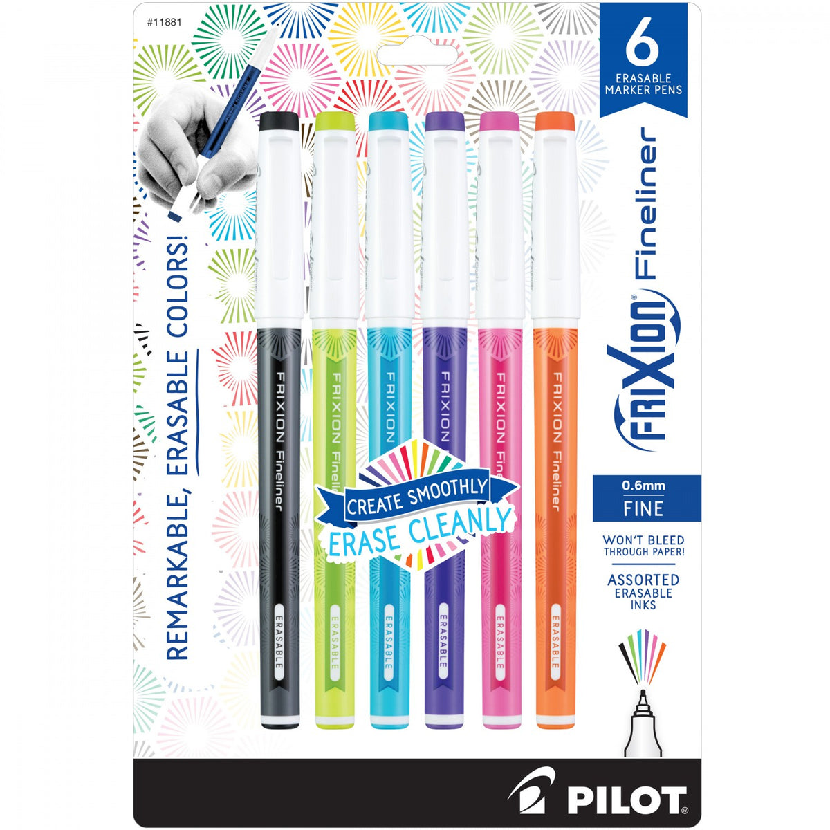 Frixion Fineliner Pens - 6 Pack Assorted Colors