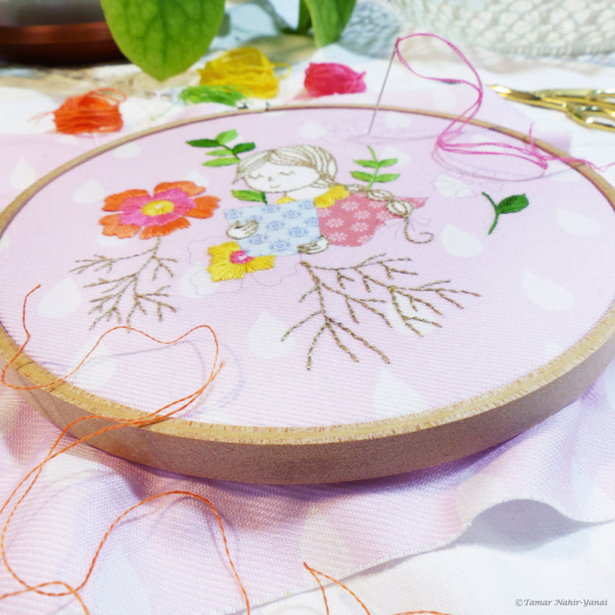 "Modern Embroidery Kit : 6"" Garden Lady by Tamar Nahir Embroidery Kit - Snuggly Monkey"