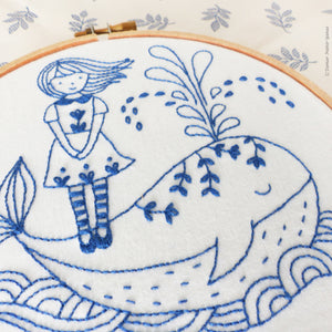 "Embroidery Kit : 6"" Girl and a Whale by Tamar Nahir Embroidery Kit - Snuggly Monkey"