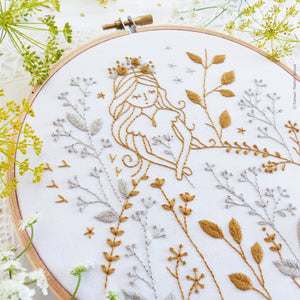 "Embroidery Kit : 6"" Gold and Gray Princess by Tamar Nahir Embroidery Kit - Snuggly Monkey"