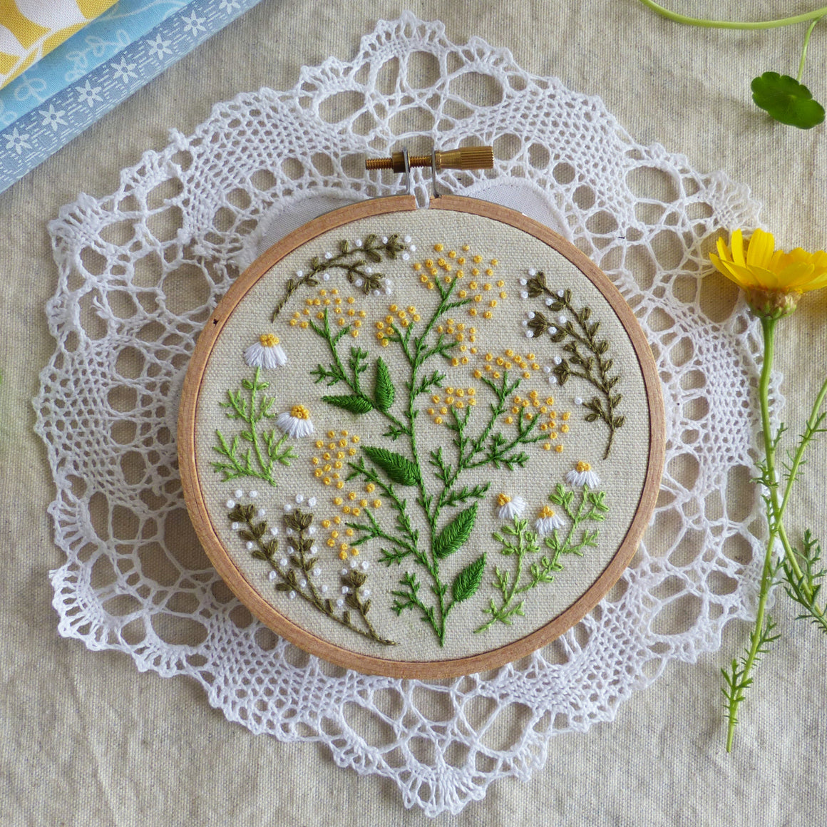 "Modern Embroidery Kit : 4"" Green Garden by Tamar Nahir Embroidery Kit - Snuggly Monkey"