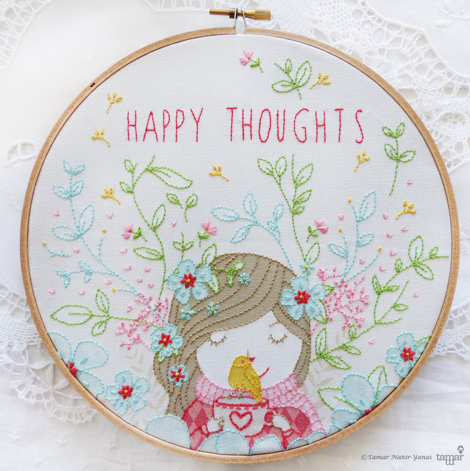 "Embroidery Kit : 8"" Happy Thoughts by Tamar Nahir Embroidery Kit - Snuggly Monkey"
