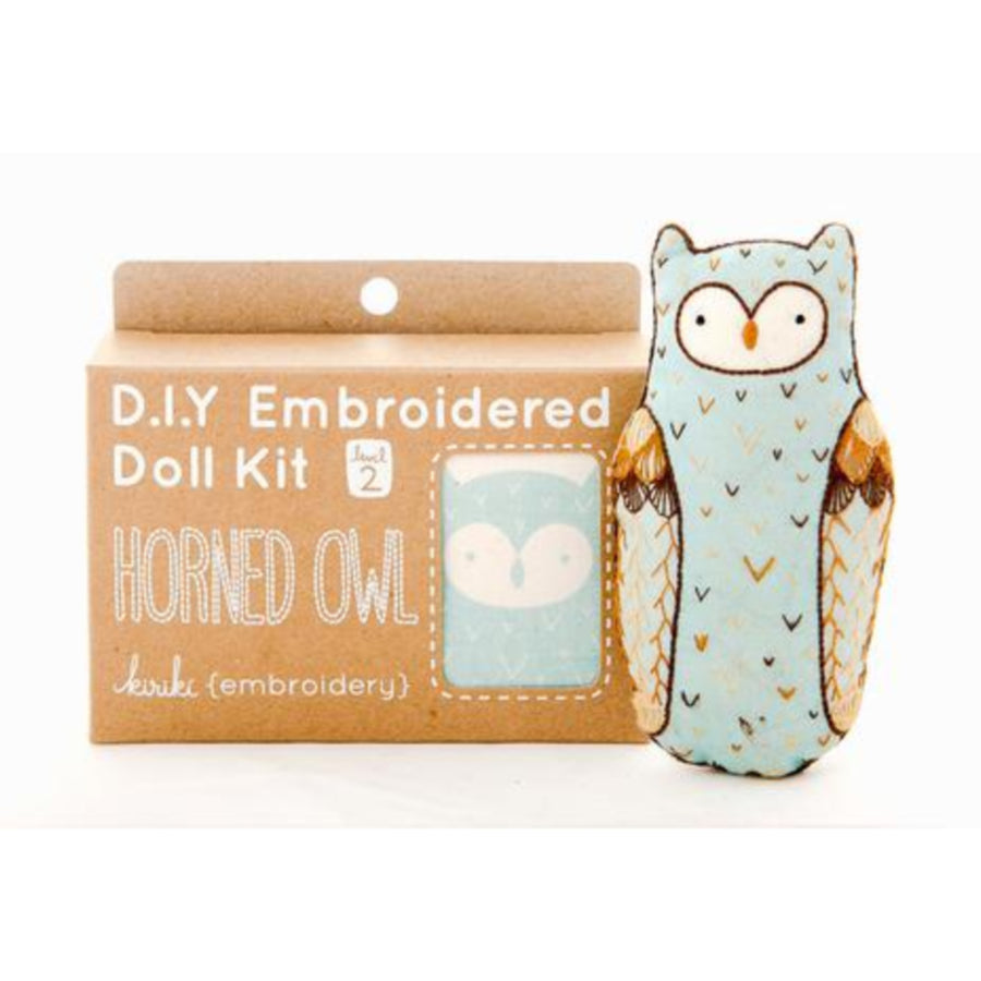 Horned Owl Plushie Embroidery Kit by Kiriki Press Embroidery Kit - Snuggly Monkey