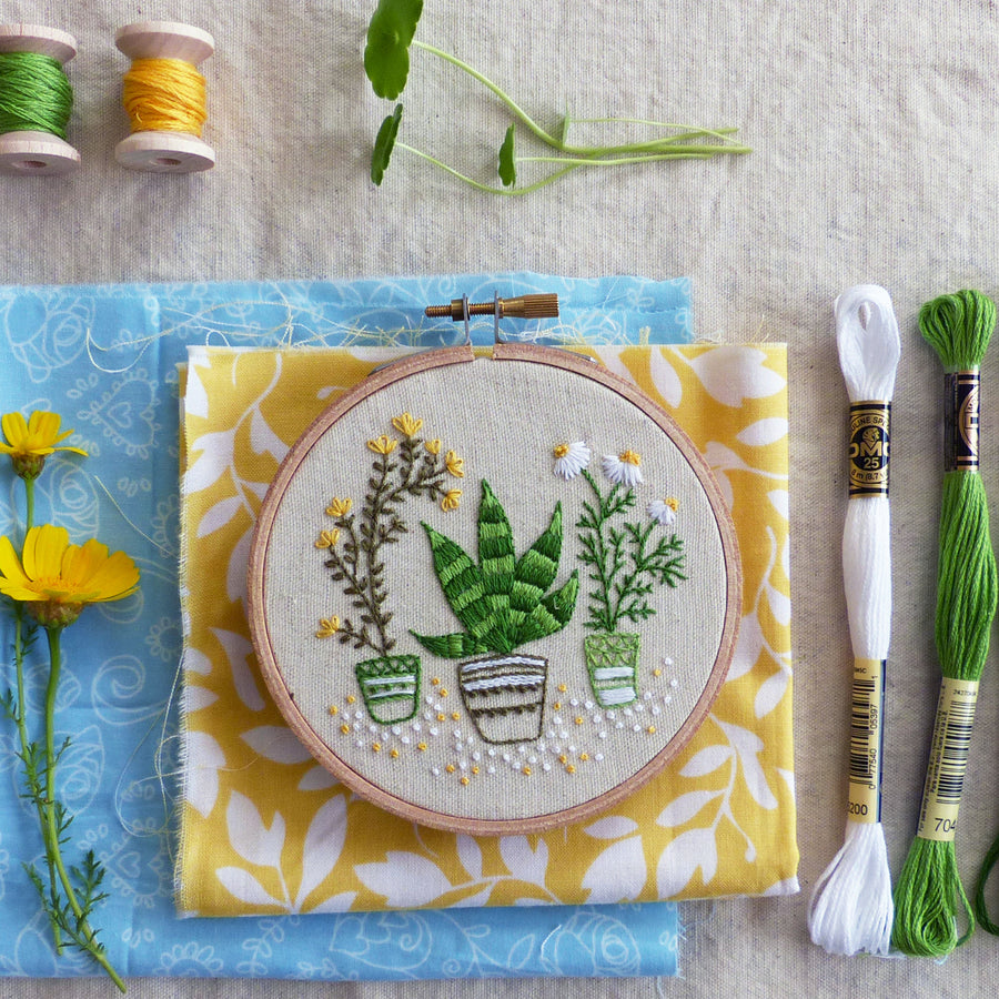 "Embroidery Kit : 4"" House Plants by Tamar Nahir Embroidery Kit - Snuggly Monkey"