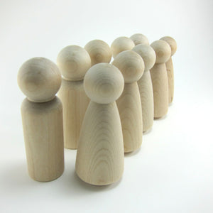 10 Tall Wood Peg Dolls Unfinished Wood - Snuggly Monkey